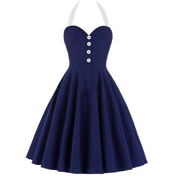 Cocktail Halter Backless Mini Pin Up Dress