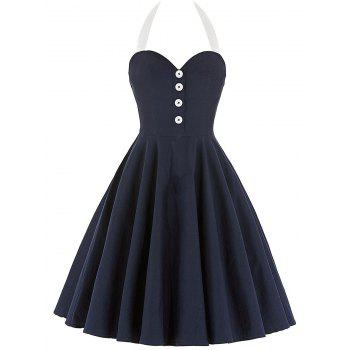 Cocktail Halter Backless Mini Pin Up Dress - BLACK BLACK