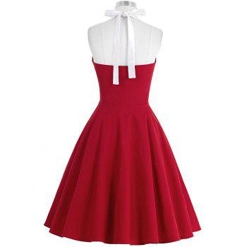 Cocktail Halter Backless Mini Pin Up Dress - RED RED