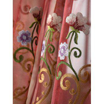Floral Embroider Sheer Window Tulle Curtain - DARK RED DARK RED