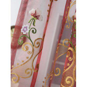 Floral Embroider Sheer Window Tulle Curtain - 100*250CM 100*250CM
