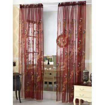 Floral Embroider Sheer Window Tulle Curtain - DARK RED 100*250CM