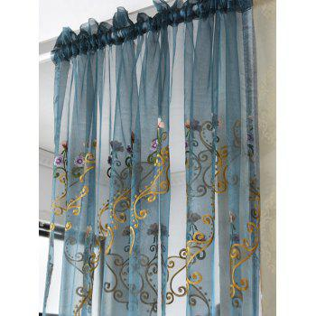 Floral Embroider Sheer Window Tulle Curtain - 100*200CM 100*200CM