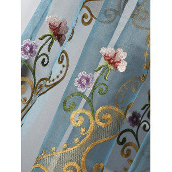 Floral Embroider Sheer Window Tulle Curtain - ICE BLUE ICE BLUE