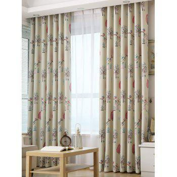 Screening Tree Print Blackout Curtain For Living Room - LIGHT KHAKI 100*200CM