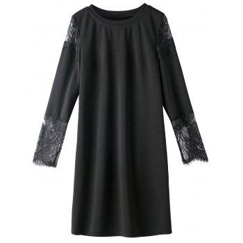 Lace Trim Long Sleeve Plus Size Dress - BLACK 4XL