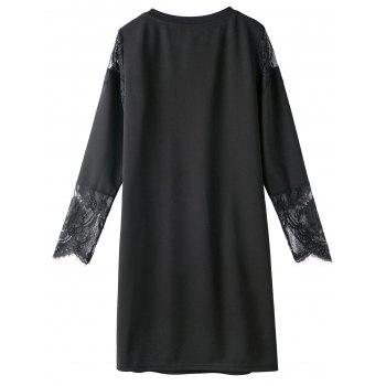 Lace Trim Long Sleeve Plus Size Tunic Dress - 5XL 5XL