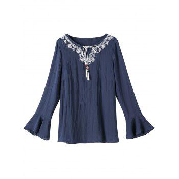 Embroidered Long Sleeve Plus Size Top - PURPLISH BLUE 2XL