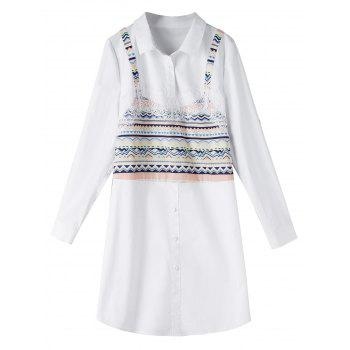 Lace Trim Print Plus Size Long Shirt - WHITE WHITE