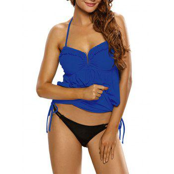 Ruched Ruffled Halter Blouson Swimsuit - DEEP BLUE DEEP BLUE
