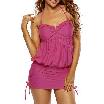 Ruched Ruffled Halter Blouson Swimsuit - ROSE RED ROSE RED