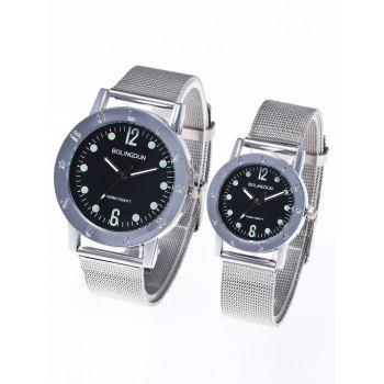 Steel Mesh Band Couple Watches - SILVER SILVER