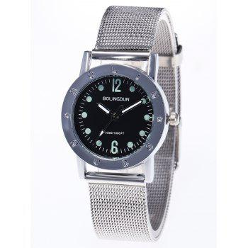 Steel Mesh Band Couple Watches -  SILVER