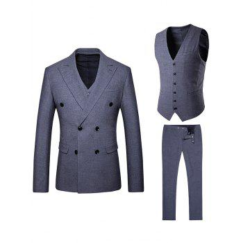 Double Breasted Lapel Waistcoat Three Piece Suit