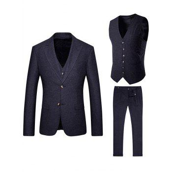 Single Breasted Wool Blend Waistcoat Three Piece Suit