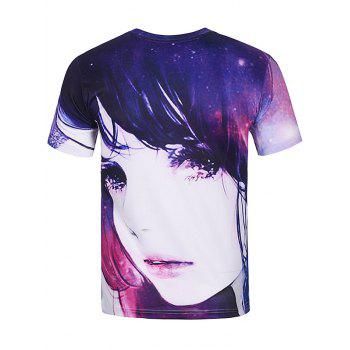 T-shirt imprimé à manches courtes 3D Galaxy fille - multicolorcolore XL