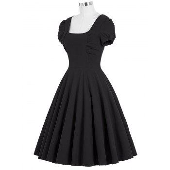 Backless Mini Swing Pin Up Dress - BLACK BLACK