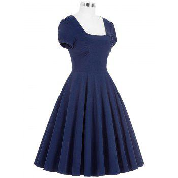Backless Mini Swing Pin Up Dress - BLUE BLUE