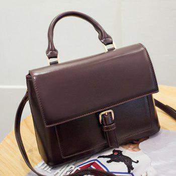 Faux Leather Buckle Strap Satchel Bag