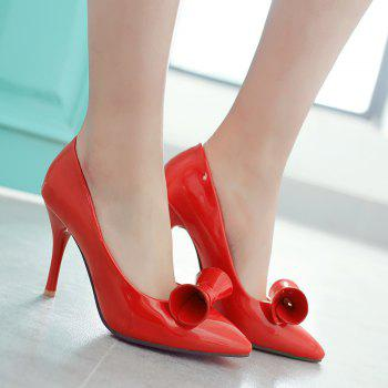 Patent Leather Bow Pointed Toe Pumps