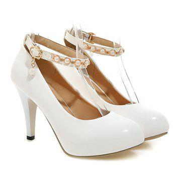 Patent Leather Faux Pearls Pumps
