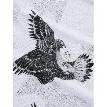3D Eagle Print Breathable Short Sleeve T-Shirt - WHITE L