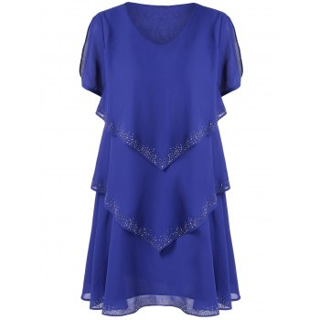 Rhinestone Embellishment Layered Chiffon Dress