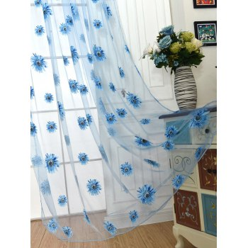 Sunflower Embroidery Tulle Curtain For Room Decor - LAKE BLUE LAKE BLUE