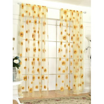 Sunflower Embroidery Tulle Curtain For Room Decor - YELLOW 100*200CM