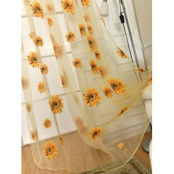 Sunflower Embroidery Tulle Curtain For Room Decor - 100*200CM 100*200CM
