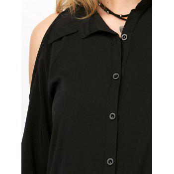 Long Sleeve Basic Cold Shoulder Shirt - BLACK BLACK