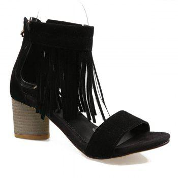 Fringe Chunky Heel Zipper Sandals