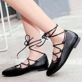 PU Leather Tie Up Flat Shoes - BLACK 37