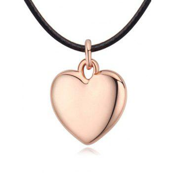 Artificial Leather Rope Heart Necklace