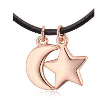 Artificial Leather Rope Moon Star Necklace