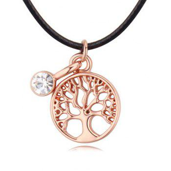 Artificial Leather Rope Life Tree Necklace