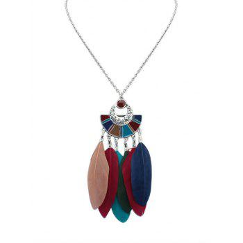 Circle Geometric Feather Necklace
