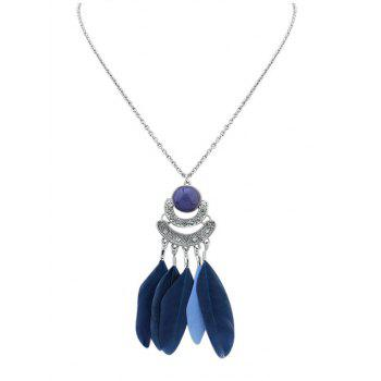 Faux Gemstone Feather Pendant Necklace