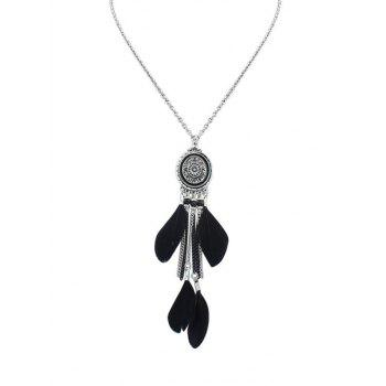 Dream Catcher Fringed Feather Necklace