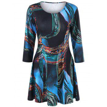 Sample Graphic Fit and Flare Mini Dress - BLACK 2XL