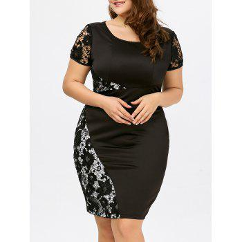 Plus Size Lace Insert Sheath Dress