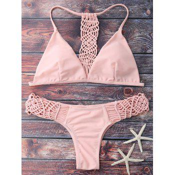 Cami Strappy Knitting Bikini Set - PINK PINK
