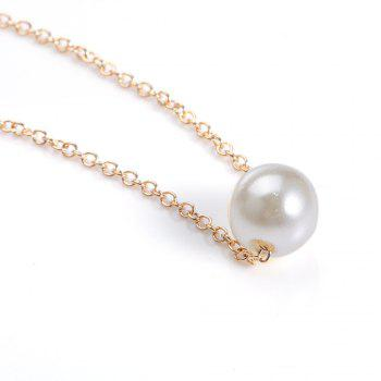 Pendant Fake Pearl Necklace - GOLDEN