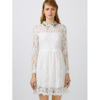 Flat Collar Lace Club Mini Short Prom Skater Dress - WHITE XL
