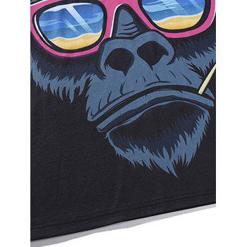 T-shirt Orang-outan et Lunettes 3D Cartoon - multicolore 2XL