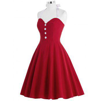 Cocktail Halter Backless Mini Pin Up Dress - RED L