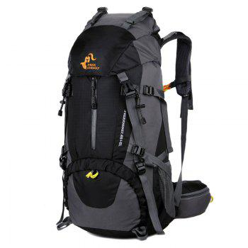 FreeKnight 50L Mountaineering Backpack with Rain Cover - BLACK BLACK