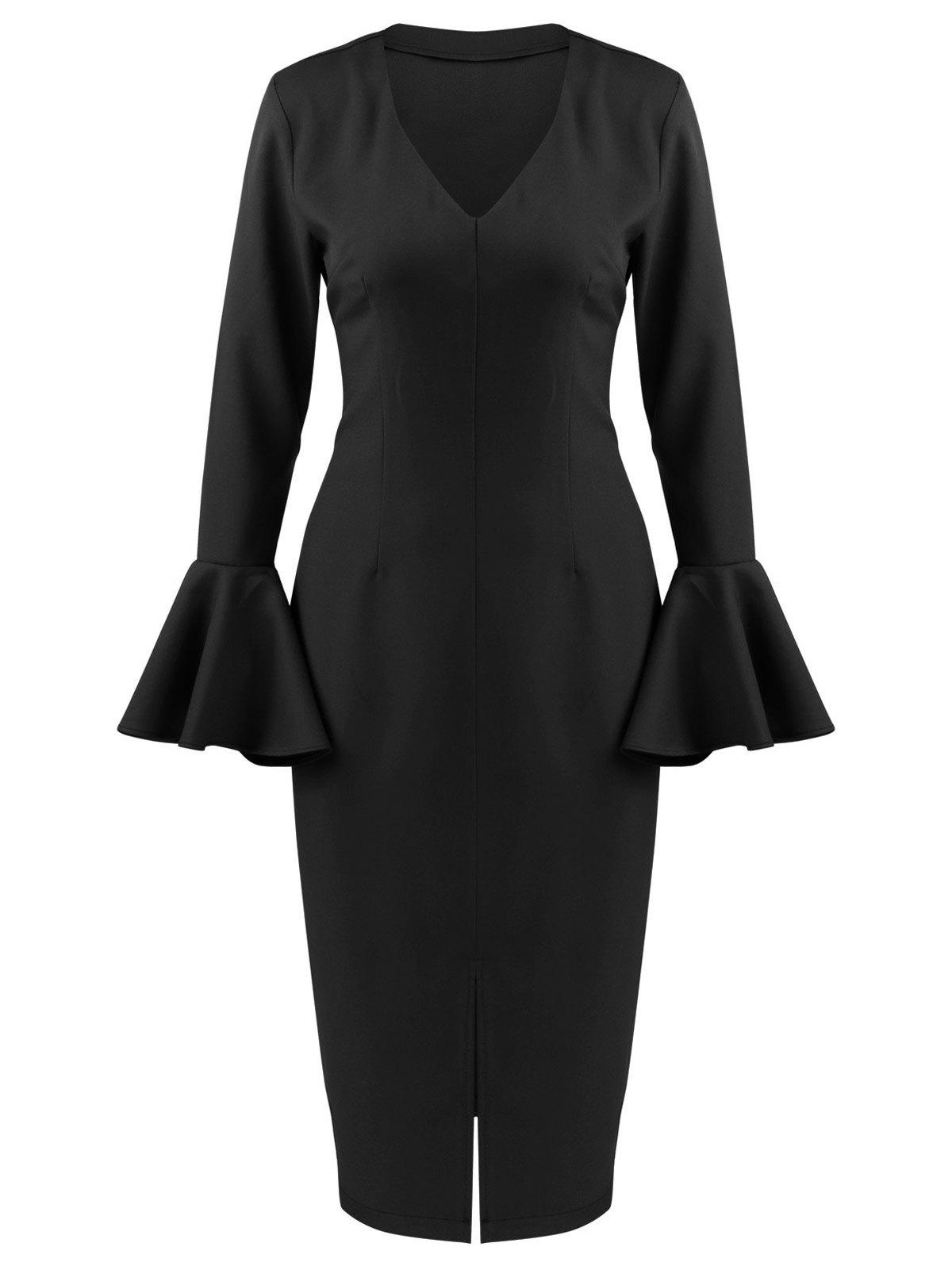 Flare Long Sleeve Tea Length Bodycon Formal Dress - BLACK XL