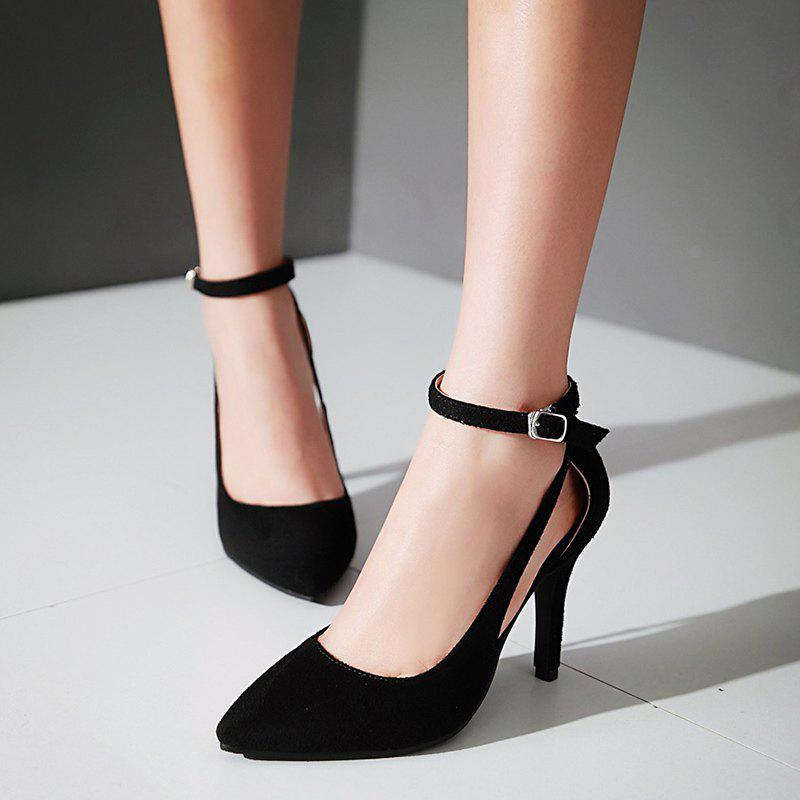 Hollow Out Ankle Strap Pumps - BLACK 37