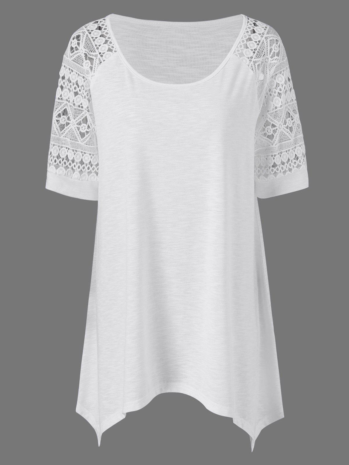 Plus Size Raglan Sleeve Crochet Trim Long T-Shirt - WHITE 2XL